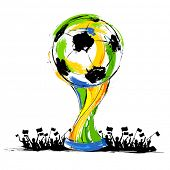 pic of brasilia  - illustration of soccer trophy in Football background - JPG