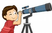 Illustration of a Boy Using a Telescope