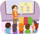 Illustration of a Teacher Teaching Her Students How to Recycle