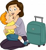 Illustration of a Boy Clinging to His Mother Who is About to Leave