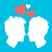Profiles Of Two Men Homosexual Couple