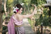 picture of polite girl  - Beautiful Thai girl in Thai traditional costume - JPG