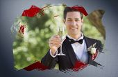 Composite image of groom toasting with champagne with red paint against digitally generated grey vig