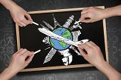 Composite image of multiple hands drawing airplane with chalk on blackboard