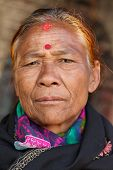 BHAKTAPUR, NEPAL, NOVEMBER 26 : close portrait of an old Nepalese woman in  Bhaktapur, Nepal on 26 November 2010