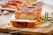 image of meatloaf  - Homemade ground meatloaf with ketchup and rosemary - JPG