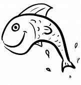 Fish jumping smiling character