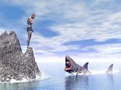 Shark attack - 3D render