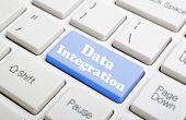 Blue data integration key on keyboard