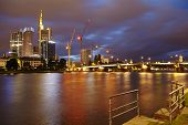 Frankfurt - Main, Untermain Bridge And Skyscrapers At Night