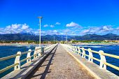 Pier, Beach And Apuane Mountains In Forte Dei Marmi Versilia Tuscany Italy