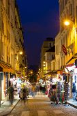 Montmartre By Night Street Near Sacre Coeur, Paris