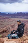Hiker With Computer
