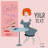 Young girl drinking coffee in cafe. Drawing, vector illustration. With place for Your Text.