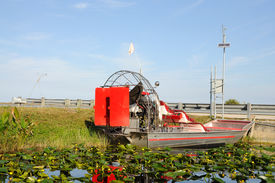 stock photo of airboat  - Airboat in Everglades National Park Florida USA - JPG