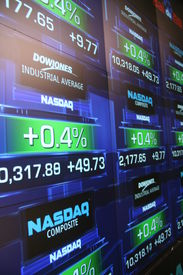 stock photo of nyse  - A picture of stocks trading on NASDAQ - JPG