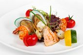 Spanish Parrillada, Assorted Fish And Seafood With Tomatoes And Herbs