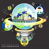 Creative Collaboration Through Internet In Flat Design