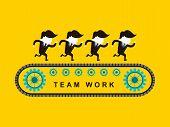 Flat Design Of Businessmen Team Work