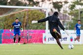 Sisaket Thailand-october 29: Players Of Sisaket Fc. In Action During A Training Ahead Thai Premier L