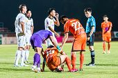 Sisaket Thailand-october 29: Victor Amaro Of Sisaket Fc. (no. 22) In Action During Thai Premier Leag