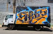 Truck painted with graffiti at East Williamsburg in Brooklyn