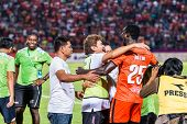 Sisaket Thailand-october 29: Players And Staff Coach Of Sisaket Fc. In Action After The End Of Thai