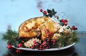 Scrumptious Roast Turkey Chicken On Platter With Festive Decorations For Thanksgiving Or Christmas L