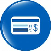 Plastic Business Card With Dollars Usd Sign Icon. Web Button
