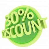 3d rendered, green 30 percent discount button