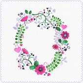 Watercolor floral frame or wreath. Greeting card.
