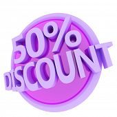 3d rendered, green 50 percent discount button