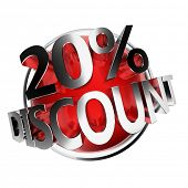 3d rendered red discount button - 20%