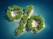 3d rendered illustration of an island forming a percent sign