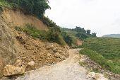 Rock Fall Into Below Of Mountainside