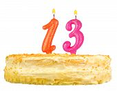 Birthday Cake Candles Number Thirteen Isolated