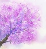 Abstract  painting of tree in blossom with pink flowers