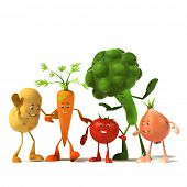 3d rendered illustration of a group of vegetable characters