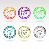image of scallop-shell  - shell icon colours set for logo or symbol - JPG