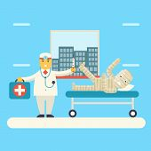 Doctor with Bandaged Patient characters Icon Health Treatment Symbol on Stylish Background Modern Fl