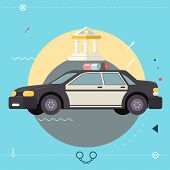Police Car Icon Symbo Legal Execution of Justice Law With Court in Background Modern Flat Design Tem