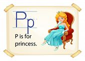 A letter P for princess on a white background