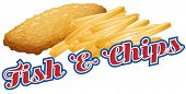 Fish and chips sticker label with text