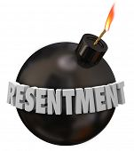 pic of bitters  - Resentment 3d letters word on a black round bomb to illustrate danger or warning for anger - JPG