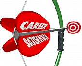 stock photo of bow arrow  - Career Satisfaction words on a 3d bow and arrow to illustrate job or work happiness - JPG
