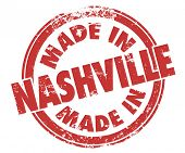 Made in Nashville stamp illustrating pride in music produces in the city, or other goods, products or services made in Tennessee