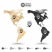 North and South America map, wooden design texture, infographics vector illustration