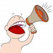 An image of a bullhorn announcer.