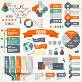Infographics set with options. Infographic, Ribbon, Logo, Icon and 3d Vector Elements. Social Communication Concept.