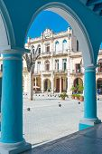 Typical colonial architecture at Plaza Vieja in Havana, a tourist landmark